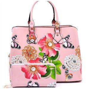 Handbags - Flower Printed Satchel & Wallet